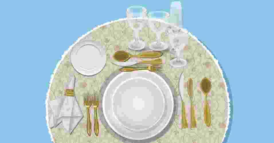 Arrumar a mesa parece, mas não é tão difícil: basta conhecer as louças e talheres e ter em mente os pratos que serão servidos. Veja na sequência como dispor os serviços para o café-da-manhã, almoço trivial, jantar com sopa e três tipos de jantares formais. - Daniel de Souza Neri/ Arte UOL