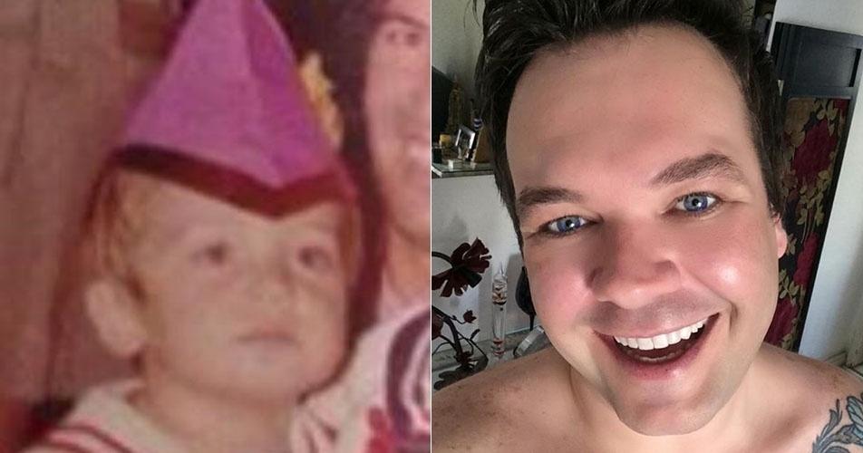 Felipeh Campos em seu aniversário de três anos no colo do pai