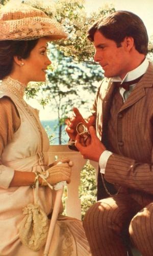 """Jane Seymour e Christopher Reeve em cena do filme """"Em Algum Lugar do Passado"""" (1980)"""