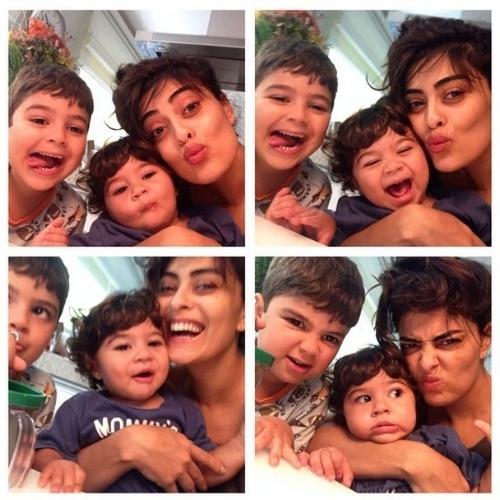 12.out.2014 - Juliana Paes postou imagens fazendo careta com os filhos neste Dia das Crianças