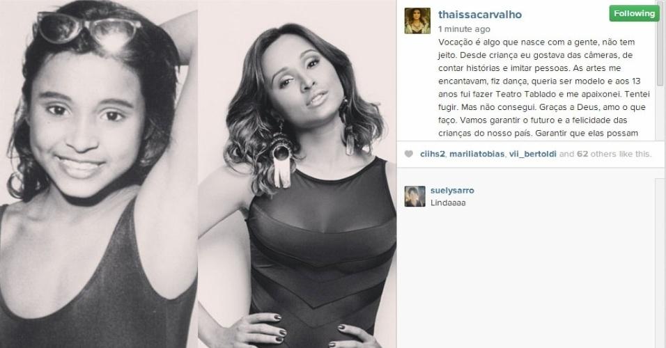 12.out.2014 - A atriz Thaissa Carvalho postou uma montagem e falou sobre sua carreira