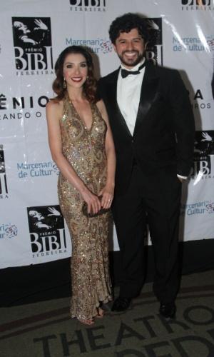 13.out.2014 - Os atores e versionistas Bianca Tadini e Luciano Andrey, indicados ao 2º Prêmio Bibi Ferreira, em São Paulo