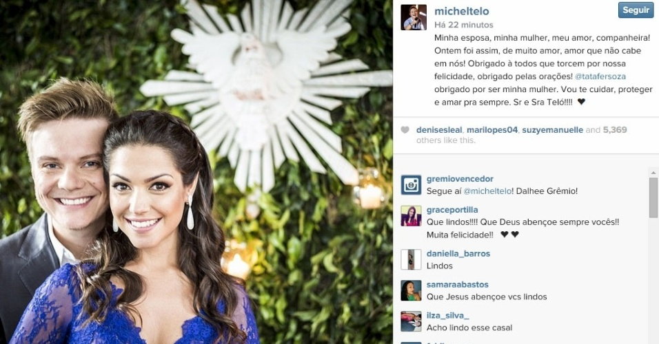 15.out.2014 - Michel Teló postou imagem de seu casamento com Thais Fersoza