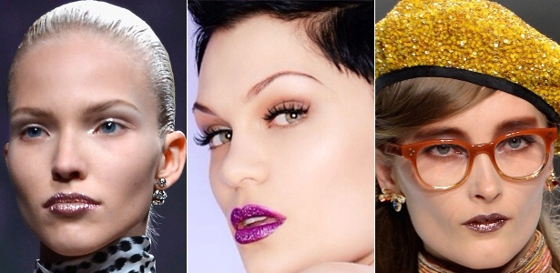 O batom metalizado voltou nos desfiles da Dior (à esq.) e Rodarte (à dir.). Jessie J apostou na cor fúcsia - Reprodução/Instagram/Getty Images/Montagem/UOL
