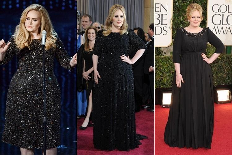 Nos tapetes vermelhos, a cantora Adele não abre mão do vestido preto, acinturado e com mangas. Os três elementos que compõem o visual da cantora são os truques básico para criar uma ilusão de silhueta mais fina e parecer mais magra