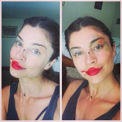 """16.out.2014 - Grazi Massafera mostra maquiagem borrada feita pela filha, Sofia. """"Que sorte! Como é bom ter maquiadora em casa ! #eladissequetolinda #possoirpfesta #elametransforma #emcoringa"""", brincou a atriz ao postar a foto"""