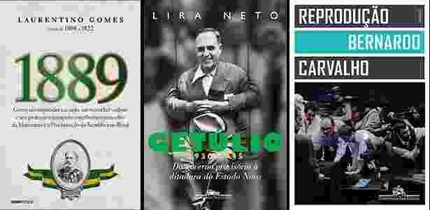 """Capas dos livros """"1889"""", de Laurentino Gomes, """"Getúlio (1930-1945)"""", de Lira Neto, e """"Reprodução"""", de Bernardo Carvalho, vencedores do prêmio Jabuti - Reprodução"""