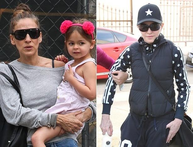 Sarah Jessica Parker e Madonna chamam atenção pelo aspecto envelhecido das mãos - Fotomontagem UOL/Grosby Group