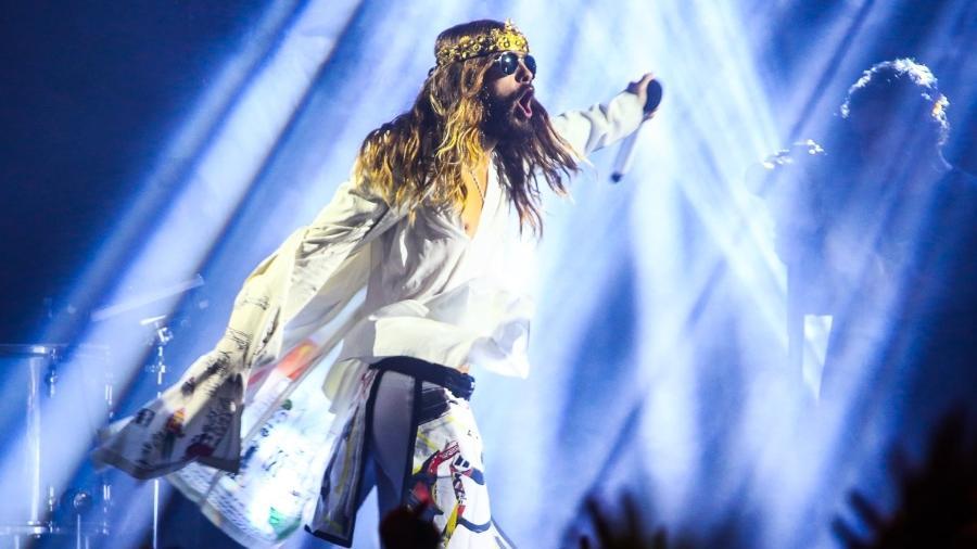 Jared Leto encarna o Jesus do rock em apresentação do Thirty Seconds to Mars em São Paulo (2014) - Manuela Scarpa/Photo Rio News