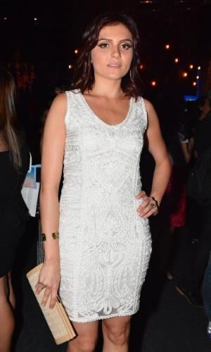 """18.out.2014 - Monica Iozzi na festa da novela """"Alto Astral"""", em São Paulo"""