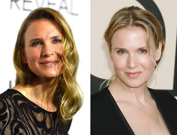 Um ano de diferença: à esquerda, a atriz em evento realizado por uma fevista feminina no dia 20 de outubro de 2014, e Beverly Hills (EUA). À direita, em foto do dia 24 de outubro de 2013, em uma festa da grife Giorgio Armani, em Nova York (EUA) - Getty Images