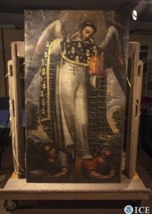 Uma das obras de arte devolvidas pelos EUA ao Peru - Charles Reed/ICE/EFE