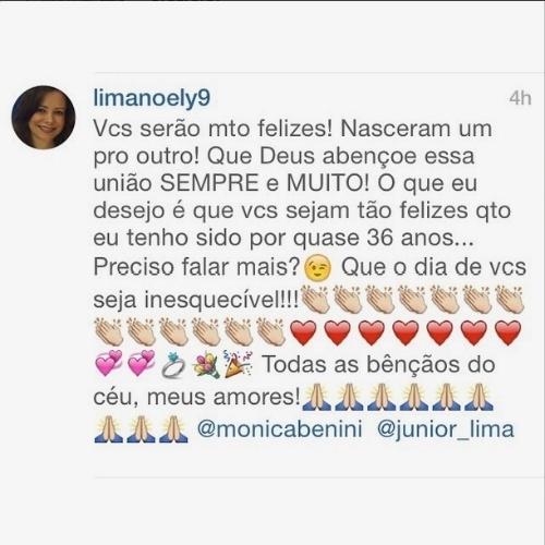 25.out.2014 - Noely, mãe de Júnior e da cantora Sandy, manifestou sua felicidade em ver o caçula se casando em sua conta no Instagram