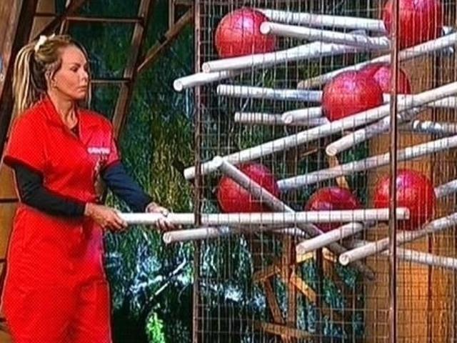 28.out.2014 - Cristina Mortágua puxa a primeira estaca de uma gaiola com bolas na primeira fase da prova do fazendeiro