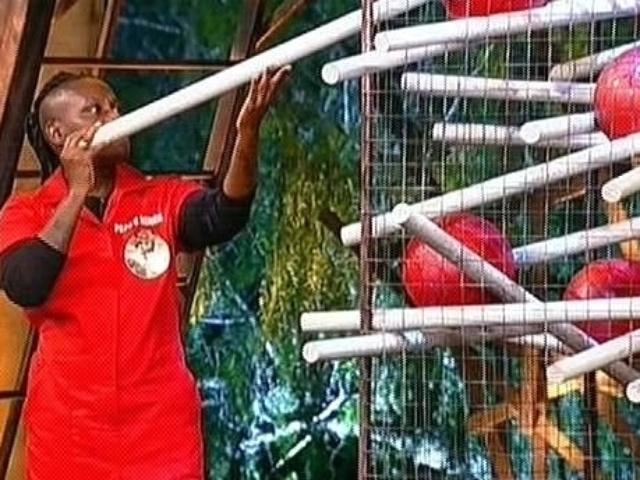 28.out.2014 - Neném começa a prova do fazendeiro retirando a primeira estaca de uma gaiola com bolas