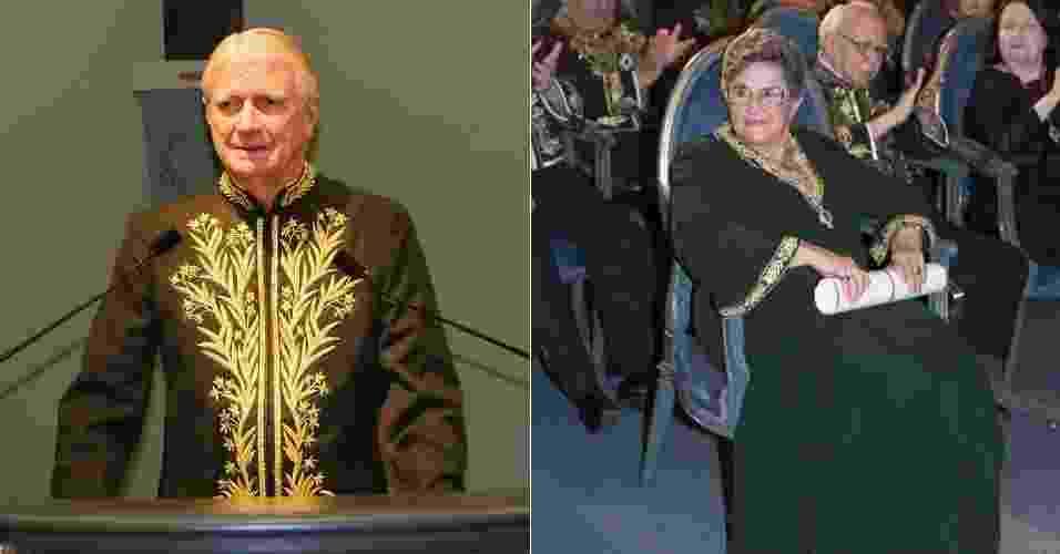 O fardão masculino é um uniforme que inclui casaca, calça, espada e chapéu de veludo negro com plumas brancas, feitos de cambraia inglesa verde, decorados por bordados à mão caprichados feitos com fios de ouro.  Já as Acadêmicas, que ingressaram na ABL a partir de 1977 como Rachel de Queiroz, usam um longo e vestido reto de crepe no mesmo tom do fardão com folhas bordadas a ouro - Fotomontagem/UOL