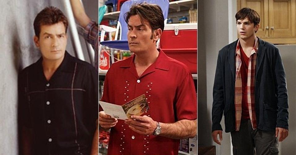 """Charlie Sheen como Charlie Harper e Ashton Kutcher como Walden em """"Two and a Half Men"""""""