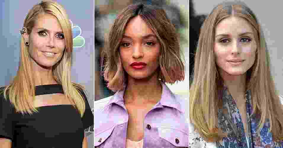 """Corte de cabelo """"sem corte"""" é aposta de famosas como Heidi Klum, Jourdan Dunn e Olivia Palermo - Getty Images/Montagem UOL"""