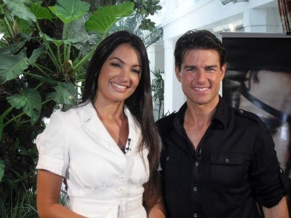 Como correspondente internacional, Patrícia Poeta entrevista o ator Tom Cruise