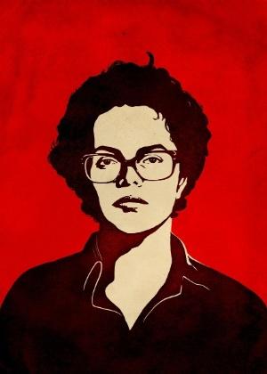 Ilustração feita por Sattu Rodrigues a partir da fotografia 3x4 de Dilma Rousseff feita pelo Dops - Sattu