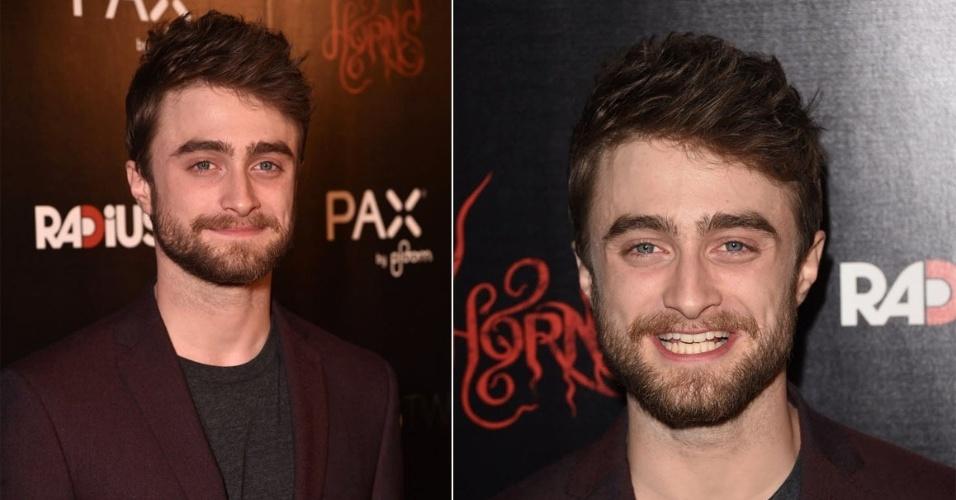 """30.out.2014 - O ator britânico Daniel Radcliffe surge barbudo na première do novo filme de terror """"Horns"""", do qual ele é protagonista, em Hollywood, nos Estados Unidos, nesta quinta-feira"""
