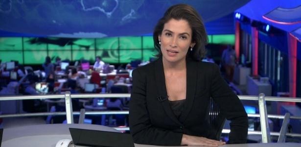 """3.nov.2014 - Renata Vasconcellos estreia no """"Jornal Nacional"""" - Reprodução/TV Globo"""