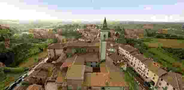 Vista aérea do centro histórico de Vinci - Divulgação/Museo Leonardiano