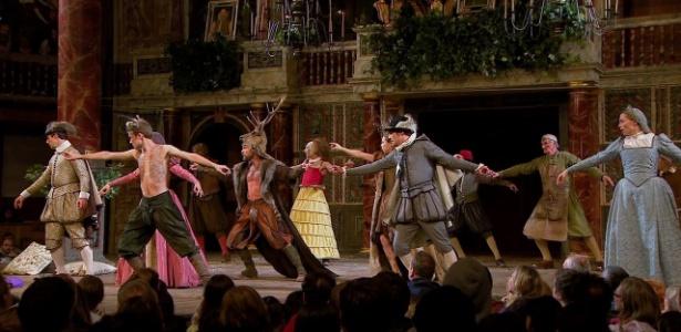 Encenação de peça de Shakespeare filmada no teatro Globe, em Londres - Reprodução
