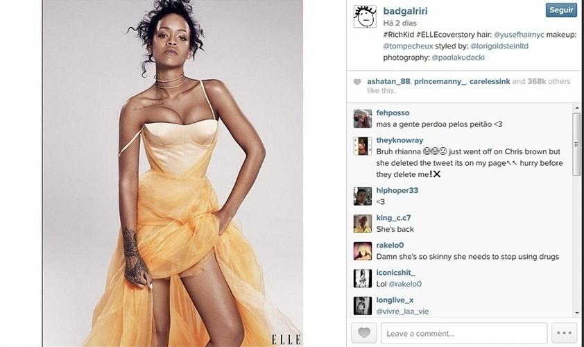 3.nov.2014 - Rihanna mostra ensaio para a