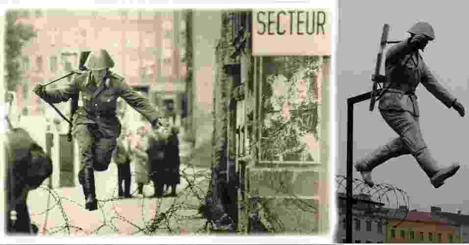 A FOTO DE CONRAD SCHUMANN - Poucas imagens representaram melhor a divisão das alemanhas quanto a foto da deserção de Conrad Schumann tirada pelo fotógrafo Peter Leibing no dia 15 de agosto de 1961. A foto do soldado do leste saltando o arame farpado enquanto o muro de Berlin ainda era construído foi transformado em estátuas, cartazes e grafites - Reprodução/Wikipédia