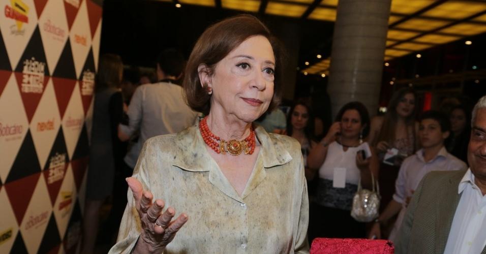 11.nov.2014- Fernanda Montenegro é a grande homenageada da noite no Prêmio Extra de Televisão. A atriz de 85 anos recebe este ano o Troféu Extraordinário