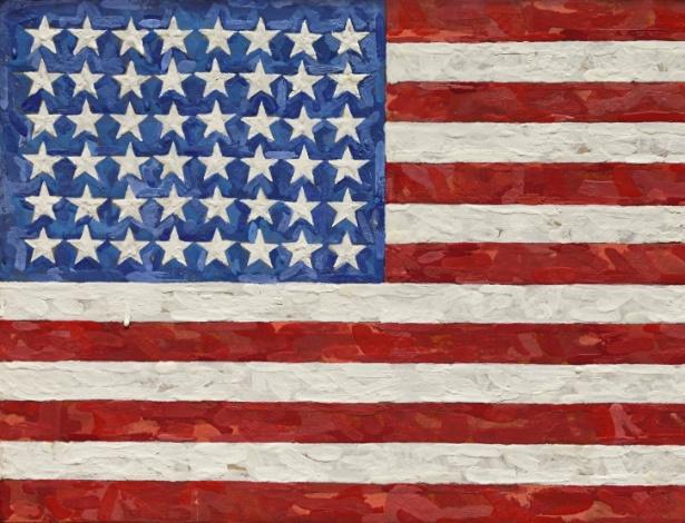"""12.nov.2014 - Fotografía cedida por Sotheby""""s New York mostra a obra """"Flag"""" (1983) de Jasper Johns, vendida por  US$ 36 milhões em leilão - EFE"""