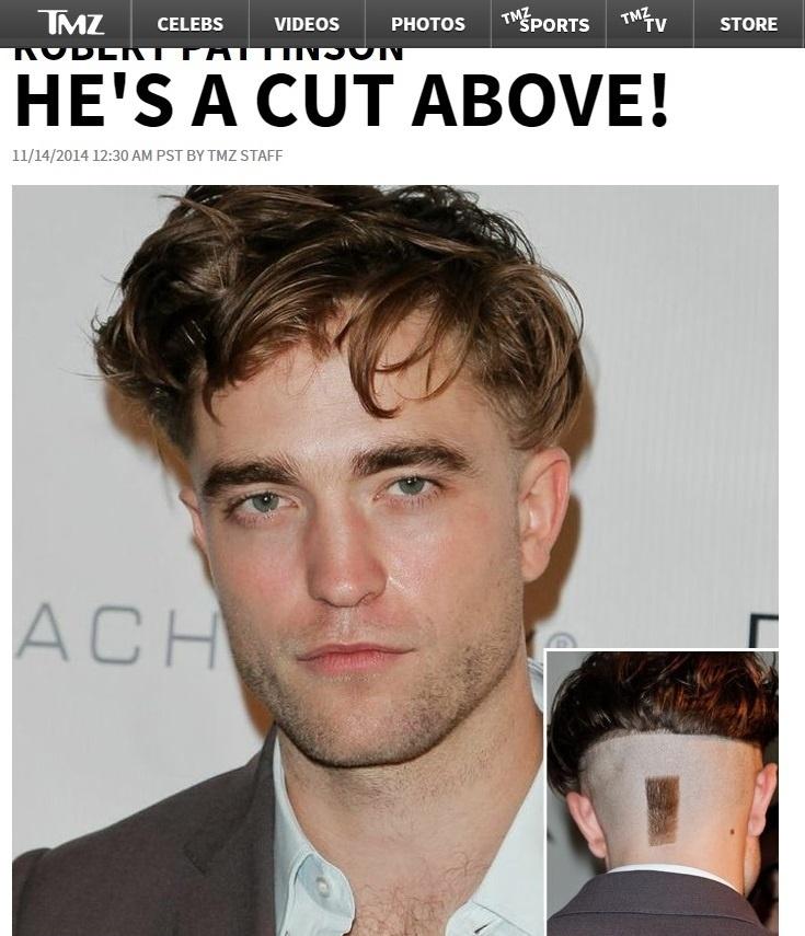 """14.nov.2014 - O site TMZ divulgou uma imagem do novo corte de cabelo do ator Robert Pattinson. O galã da saga """"Crepúsculo"""" chamou a atenção num evento beneficente, em Los Angeles, por raspar metade da cabeça e deixar uma pequena mecha à mostra na parte de trás. A pergunta é se a mudança radical foi ousadia mesmo ou por algum papel..."""