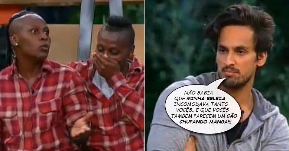 """9.nov.2014 - Leo Rodriguez diz que Pepê e Neném são cão chupando manga em """"A Fazenda 7"""""""