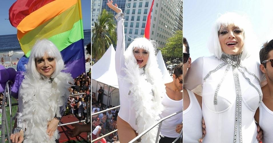 16.nov.2014 - Letícia Spiller foi um dos destaques da 19ª Parada do Orgulho LGBT, no Rio de Janeiro. Fantasiada a lá Drag Qeen