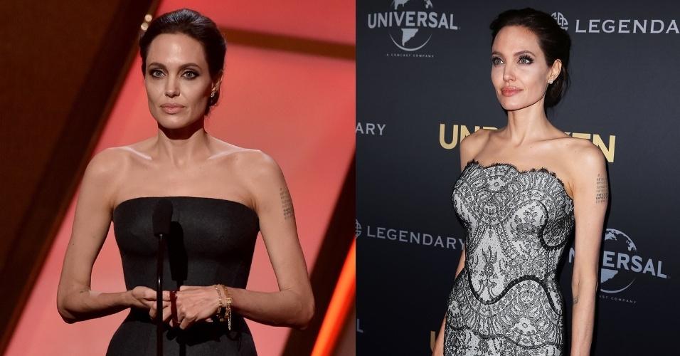 Angelina Jolie usando Atelier Versace e Gucci em eventos do cinema neste fim de semana
