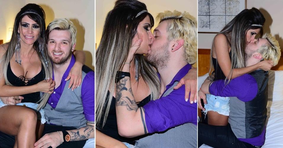 17.nov.2014 - Nos bastidores, o ex-BBB Cássio Lanes trocou beijos com a candidata ao Miss Bumbum Ana Paula Souza, representante do Distrito Federal, em um hotel no centro de São Paulo, nesta segunda-feira