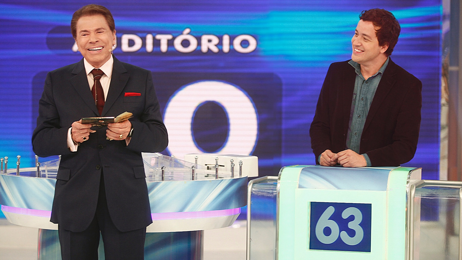 Silvio Santos e Rafael Cortez no quadro