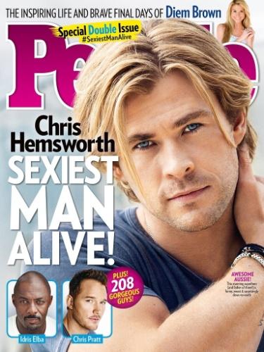 """Chris Hemsworth é eleito como o homem mais sexy do mundo pela revista americana """"People"""""""