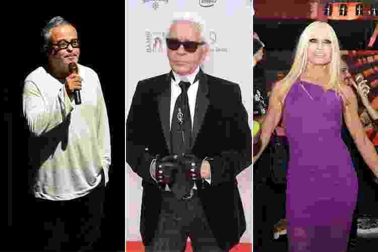 Estilo dos estilistas - Ronaldo Fraga, Karl Lagerfeld e Donatella Versace - Agnews e Getty Images