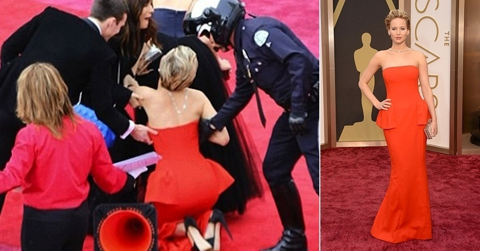 Jennifer Lawrence cai no tapete vermelho do Oscar 2014