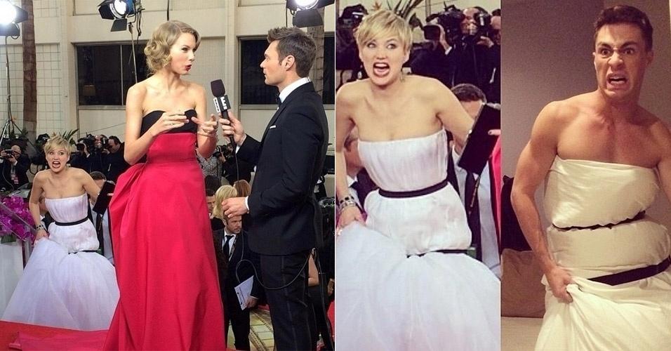 Jennifer Lawrence fazendo caretas atrás de Taylor Swift e virando meme com seu vestido