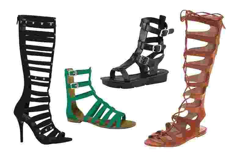 """A gladiadora é a sandália mais amada e odiada das mulheres. Por ser um ponto visual pesado no look, pode """"engrossar"""" e """"encurtar"""" as pernas de quem usa. A dica é deixar que a sandália seja o foco do visual e economizar nos outros acessórios. Para evitar o efeito de pernas achatadas, vale usar com calça justa ou saia bem curta. A seguir, veja diferentes modelos da sandália que promete ser o hit dos pés no verão - Divulgação"""