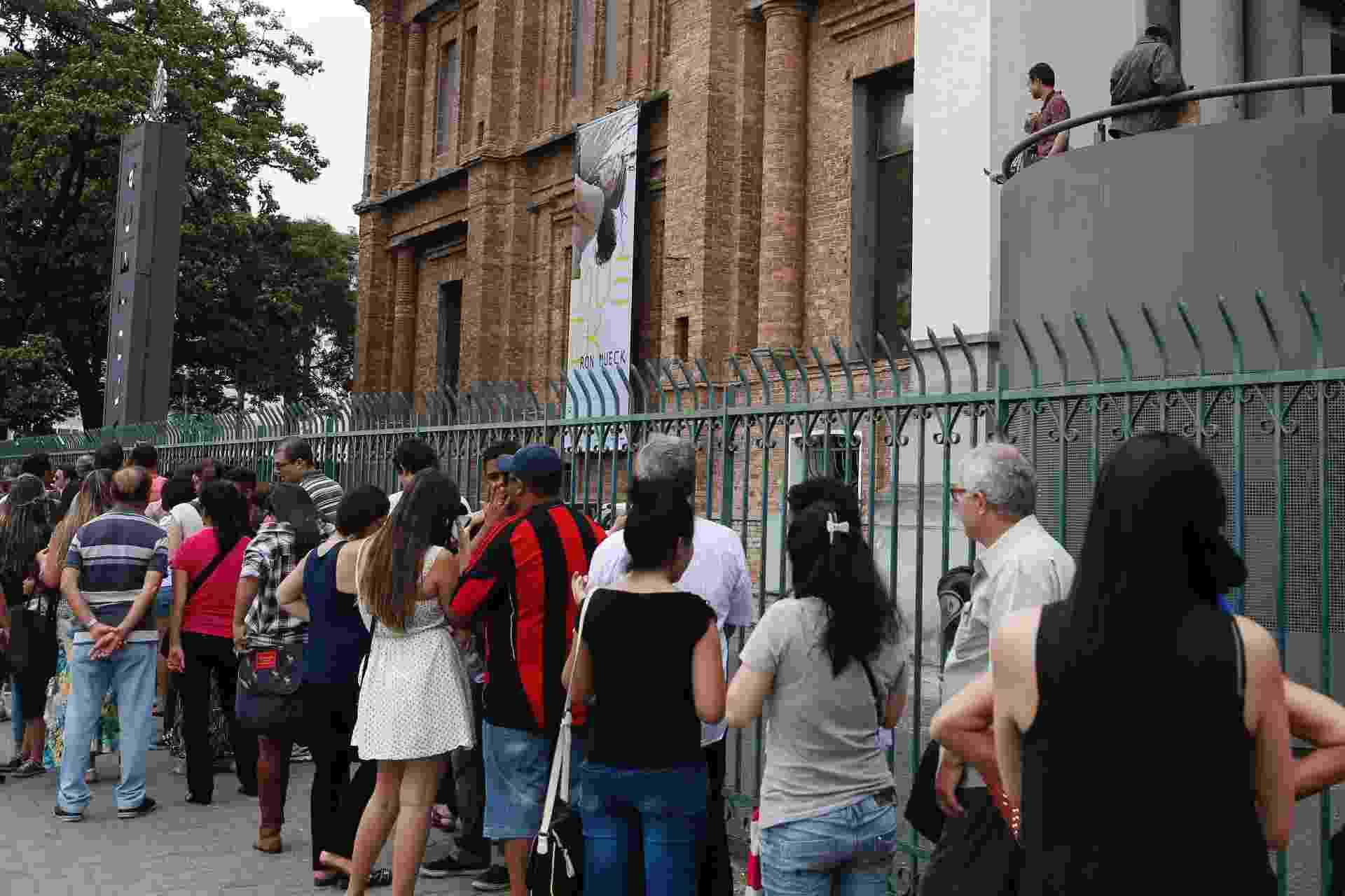Público enfrenta uma fila de cerca de duas horas na estreia da exposição do artista plástico australiano Ron Mueck, na Pinacoteca de São Paulo - Junior Lago/UOL