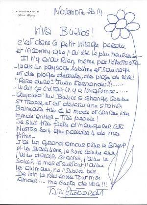 Carta enviada por Brigitte Bardot à Mostra Búzios-France - Reprodução