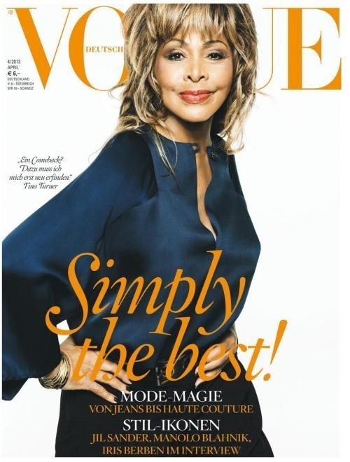 Tina Turner em abril de 2013, aos 73 anos, quando se tornou a mulher mais velha a estampar a capa da revista