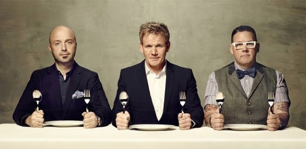 "Joe Bastianchi, Gordon Ramsay e Graham Elliot são os jurados do ""MasterChef"" nos Estados Unidos"