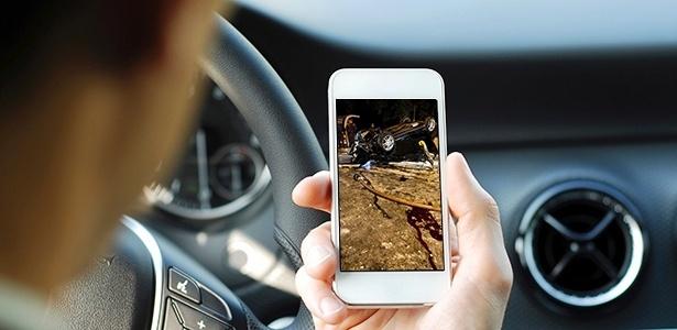 Segundo pesquisa da Sociedade Brasileita de Ortopedia e Traumatologia, 84% dos motoristras de São Paulo e do Rio mexem no celular enquanto dirigem - Arte UOL Carros/Getty Images