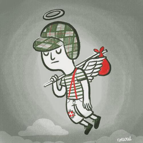 Chaves aparece triste, com asas nas costas e uma auréola na cabeça. O ator Roberto Bolaños, criador e intérprete do personagem, morreu aos 85 anos, nesta sexta-feira (28), no México