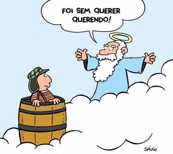 Deus recebe Chaves com seu barril no céu. O ator Roberto Bolaños, criador e intérprete do personagem, morreu aos 85 anos, nesta sexta-feira (28), no México